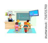 lesson in classroom at school... | Shutterstock .eps vector #710721703