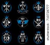 vintage weapon emblems set.... | Shutterstock .eps vector #710728777