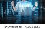 investment concept hand with... | Shutterstock . vector #710731663