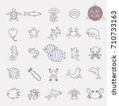 sea  marine life line icon set