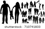 isolated silhouette family ... | Shutterstock . vector #710741833