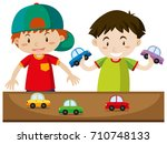 two boys playing with cars... | Shutterstock .eps vector #710748133