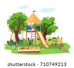 kids playground in city park.... | Shutterstock .eps vector #710749213