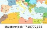 mediterranean sea map  ... | Shutterstock .eps vector #710772133