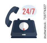 24 7  old phone service | Shutterstock .eps vector #710776327