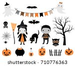 stylish halloween set in grey ... | Shutterstock .eps vector #710776363