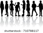 vector silhouette of children... | Shutterstock .eps vector #710788117