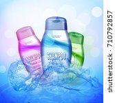 shampoo bottles on the water... | Shutterstock .eps vector #710792857