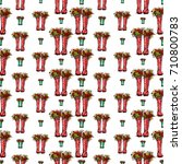 vector red and green polka dot... | Shutterstock .eps vector #710800783