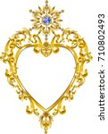 diamond golden heart mirror | Shutterstock .eps vector #710802493