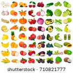 set of berries and fruits ... | Shutterstock .eps vector #710821777
