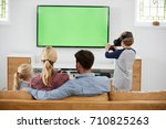family playing computer game... | Shutterstock . vector #710825263