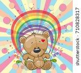 cute cartoon teddy bear with a... | Shutterstock .eps vector #710828317