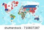 illustration   map of the world ... | Shutterstock .eps vector #710837287