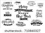 set of christmas and happy new... | Shutterstock .eps vector #710860327
