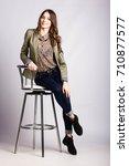 young european woman showing... | Shutterstock . vector #710877577