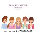 breast cancer woman character.... | Shutterstock .eps vector #710902687