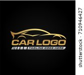 gold car logo template with... | Shutterstock .eps vector #710946427