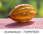 cocoa bean  cocoa fruit  close... | Shutterstock . vector #710947633
