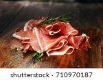 italian prosciutto crudo or... | Shutterstock . vector #710970187