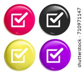 tick multi color glossy badge...