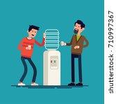 water cooler gossip concept... | Shutterstock .eps vector #710997367