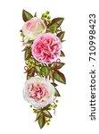 flower composition. wreath ...   Shutterstock . vector #710998423