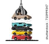 cars in salvage junkyard. hydro ... | Shutterstock .eps vector #710999347