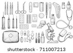 medical tool collection... | Shutterstock .eps vector #711007213