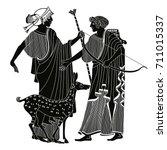 vector illustration in ancient... | Shutterstock .eps vector #711015337