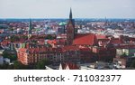 Stock photo beautiful super wide angle summer aerial view of hannover germany lower saxony seen from 711032377