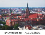 Stock photo beautiful super wide angle summer aerial view of hannover germany lower saxony seen from 711032503