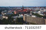Stock photo beautiful super wide angle summer aerial view of hannover germany lower saxony seen from 711032557