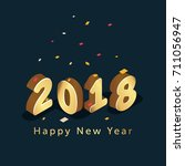2018 happy new year isometric... | Shutterstock .eps vector #711056947