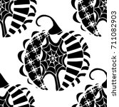 seamless halloween pattern.... | Shutterstock .eps vector #711082903