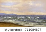 beautiful sea landscape. oil... | Shutterstock . vector #711084877