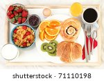 breakfast tray in bed with... | Shutterstock . vector #71110198
