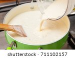 rice pudding with cinamon and... | Shutterstock . vector #711102157