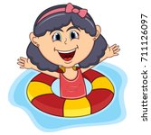 girls swim cartoon vector... | Shutterstock .eps vector #711126097