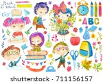 welcome back to school  cute... | Shutterstock . vector #711156157