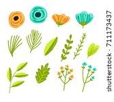 flower elements   vector... | Shutterstock .eps vector #711173437