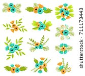flower bouquets   vector... | Shutterstock .eps vector #711173443