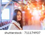 blurred style portrait young... | Shutterstock . vector #711174937