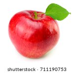 red apple with green leaf... | Shutterstock . vector #711190753
