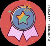 best of badge with ribbon icon... | Shutterstock . vector #711190987