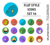 fishing set icons in flat style.... | Shutterstock .eps vector #711205633