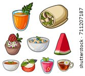 pictures about vegetarianism.... | Shutterstock .eps vector #711207187