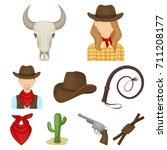 a set of pictures about cowboys.... | Shutterstock .eps vector #711208177