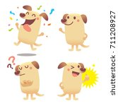 Stock vector vector set of cute labrador dog character in different actions emotions isolated on white 711208927