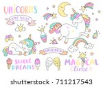 set of unicorns and different... | Shutterstock .eps vector #711217543